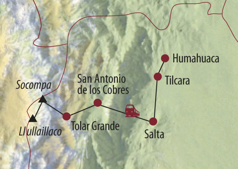 MAP Karte Argentinien: Expeditionsreise - Socompa (6051 m) und Llullaillaco (6739 m)